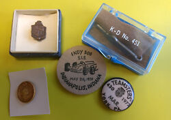 Indy 500 1970 Wood Coin Teamsters Pin 20th Century Typewriting Pin Etc Lot