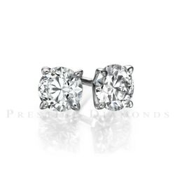 4 Carat Diamond Solitaire Stud Earrings Si1 F Round 14k Whit Gold Chrism's Xmas