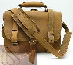 Men's real leather office Briefcase Laptop Messenger Shoulder Bag Satchel small