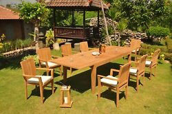 9-piece Outdoor Teak Dining Set 122 Rectangle Table 8 Stacking Arm Chairs Lua