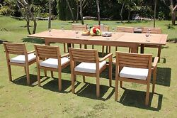9-piece Outdoor Teak Dining Set 122andrdquo Rectangle Table 8 Stacking Arm Chairs Mnt