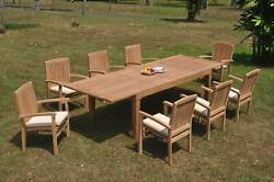 9-piece Outdoor Teak Dining Set 122andrdquo Rectangle Table 8 Stacking Arm Chairs Wave