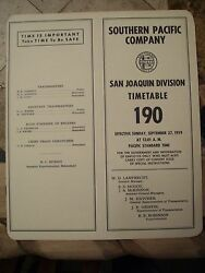 Southern Pacific San Joaquin Division Employee Timetable 190 Sept 271959