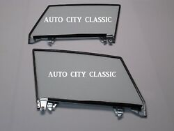 Assembled Door Glasses Pair Left Right Dated In Clear For 1956-1962 Corvette