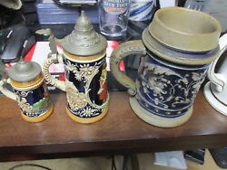 7x Vintage German And Foreign Beer Steins Lot