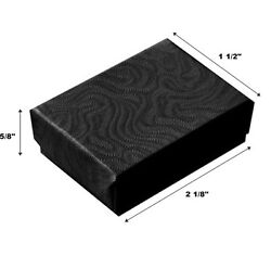 2000 Swirl Black Cotton Filled Jewelry Display Gift Boxes 2 1/8 X 1 1/2 X 5/8