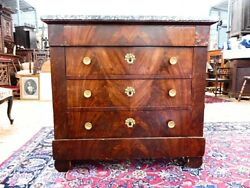 French Antique Marble Top Mohagany Dresser / Commode C431