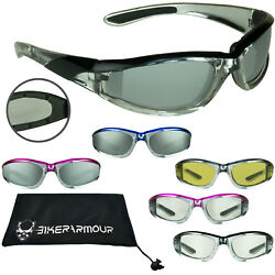 Motorcycle Sunglasses Chrome Stripe Windproof Foam Padded Clear Yellow Glasses