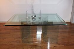 Custom Made Glass Top Contemporary Dining Table W/ 2 Wave-shaped Glass Bases
