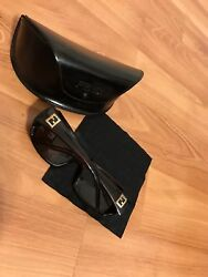 Fendi Sunglasses With Gold Logo Gold Stone Detail And Original Authentic Case