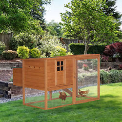 PawHut Deluxe Wood Poultry Chicken Coop Run Backyard Nesting Box Hen House Hutch