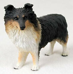 Sheltie Tri Color Dog Figurine Statue Hand Painted Resin Gift Pet Lovers
