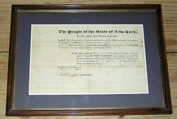 Dewitt Clinton Signed 1825 New York Military Commission Capt. Amos Story Framed