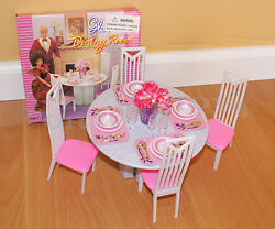 New Gloria Doll House Furniture 5 Pcs Round Dining Table Playset 94011