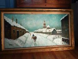 Vintage Original Oil on Canvas Signed Crespi Winter Village Snow Scene 55