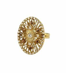 Two Tone Gold Diamond Ring With Oval Ornament