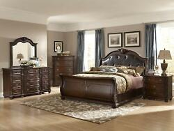 LUCAS 5 piece Bedroom Set Furniture Cherry Brown w King Faux Leather Sleigh Bed