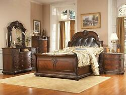ROYCE 5pcs Traditional Cherry Brown Bedroom Set w King Sleigh Faux Leather Bed