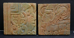 Two Vintage Calco Mayan Silhouette Tiles California Clay Products