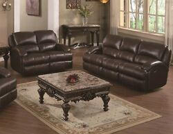 Reclining Motion 2p Set Living Room Brown Leather Air Sofa Loveseat Family Couch