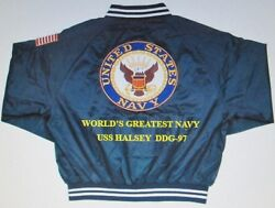 Uss Halsey Ddg-97 Navy Anchor Embroidered 2-sided Satin Jacket