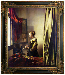 Vermeer Girl Reading A Letter At An Open Window Framed Canvas Print Repro 20x24