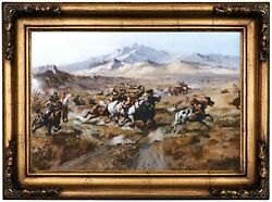 Russell Stage Coach Attack Wood Framed Canvas Print Repro 12x18