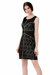 Chic Designer Shift Dress Patched Lace Contrast Lining