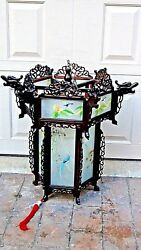 Antique Chinese Carved Rosewood Dragon Reverse Glass Painted Panels Lanternlamp