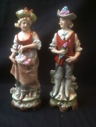 Antique German Gdr Grafenthal Porcelain. Colorful Pair With Flowers . Marked