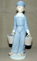Lladro Signed Made In Spain Dutch Boy With Water Buckets Pails 4811