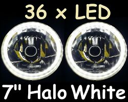 1pr White Led Halo 7 Round Headlights Fit Land Rover Series 1 2 2a 3