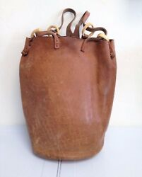 VINTAGE 1960's Handmade Tan Leather Bucket Bag
