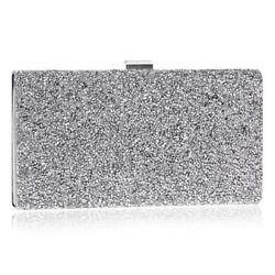 Rhinestone and Crystal Clutch Evening Bag with Chain Shoulder Strap