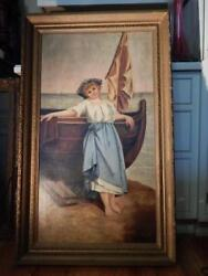 1800's Portrait Of Dutch Girl Oil On Canvas Signed L. G. M. 1891 Nautical