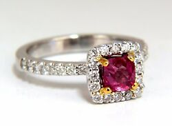 Aigs Certified 1.45ct Natural No Heat Pink Red Ruby Diamond Ring 18kt Unheated