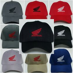 Honda Motorcycle Embroidered Baseball Hat Cap Adjustable Strap Honda MC Wings $12.95
