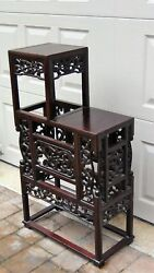 Antique Chinese Rosewood Handcarved Pierced Dragon Step Tansu Plant Stand 2