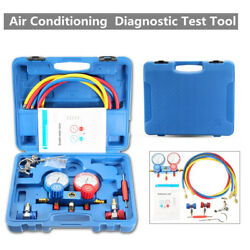 Air Conditioning Pressure Manifold Gauge Hose Kit For R134A R22 Refrigerant