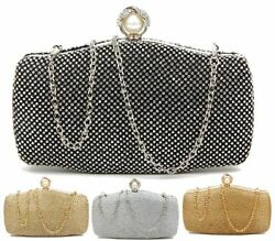 WOMENS HARDCASE BOX PEARL CLASP BRIDAL PARTY DIAMANTE EVENING DRESSY CLUTCH BAG