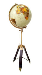 Vintage Antique Replogle Globe 12 World Classic Series Raised With Tripod Stand