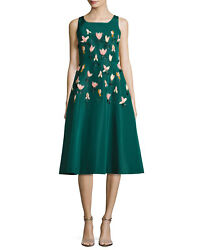 3695 New Lela Rose 3 D Peach Tulip Embroidered Teal Faille A Line Green Dress 4