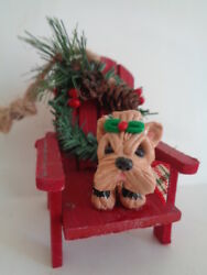 HAND SCULPTED*****YORKIE YORKSHIRE TERRIER WOOD HOLIDAY CHAIR CHRISTMAS ORNAMENT