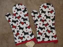 NEW Scottish Terrier Scotty Dog Scotties 2 Oven Mitt Pot Holders Christmas