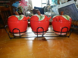 3 Apple Shaped Condiment Jam Jelly Jar Pot Containers In Clack Metal Basket