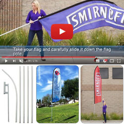 16and039 Tall Regular Sleeve Swooper Flag Pole Kit W/ Spike Flutter Feather Banner
