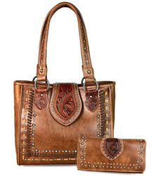 New! Trinity Ranch Saddle Stitch Tote w Floral Tooled Leather + Wallet- Brown