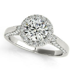 1.40 Ct Round Moissanite Forever One And Diamond Halo Engagement Ring 50l904wg