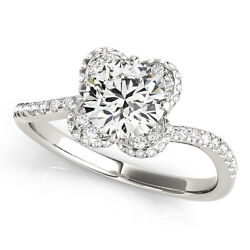1.30 Ct Round Moissanite Forever One And Diamond Halo Engagement Ring 51l036wg