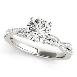 2.10 Ct Round Moissanite Forever One And Diamond Cross Engagement Ring